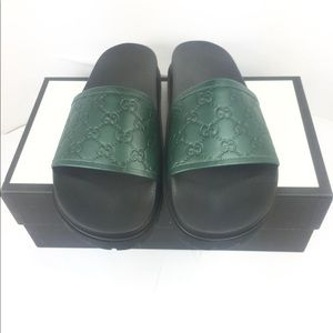 402b7daff14 Gucci Shoes - Gucci GG Guccissima Green Men s Slide Sandals